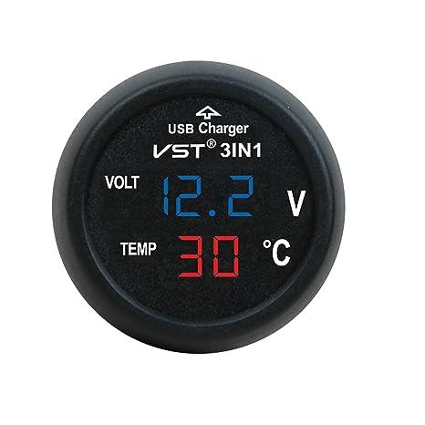 3in1 12-24V Auto Zigarettenanzünder Buchse USB Ladegeräte+Voltmeter+Thermometer