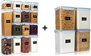 Vtopmart 12pcs Airtight Containers and 4pcs Large Flour Containers