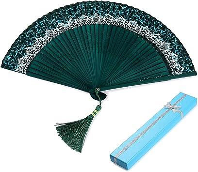 Ventaglio a Mano in Seta Cinese//Giapponese per Donne Ventilatori di bamb/ù Ventilatori a ventaglio Pieghevole con Nappa Ventilatore Hongyantech Ventaglio a Mano Giapponese con Confezione Regalo