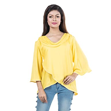 Mamosa tops for girls new fashion western girls tops stylish Rayon Yellow  girls tops stylish top 8729fc0a0