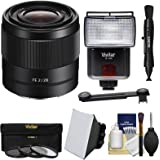 Sony Alpha E-Mount FE 28mm f/2 Lens with 3 UV/CPL/ND8 Filters + Flash + Soft Box + Lens Pen + Kit for A7, A7R, A7S Mark II III, A9 Cameras