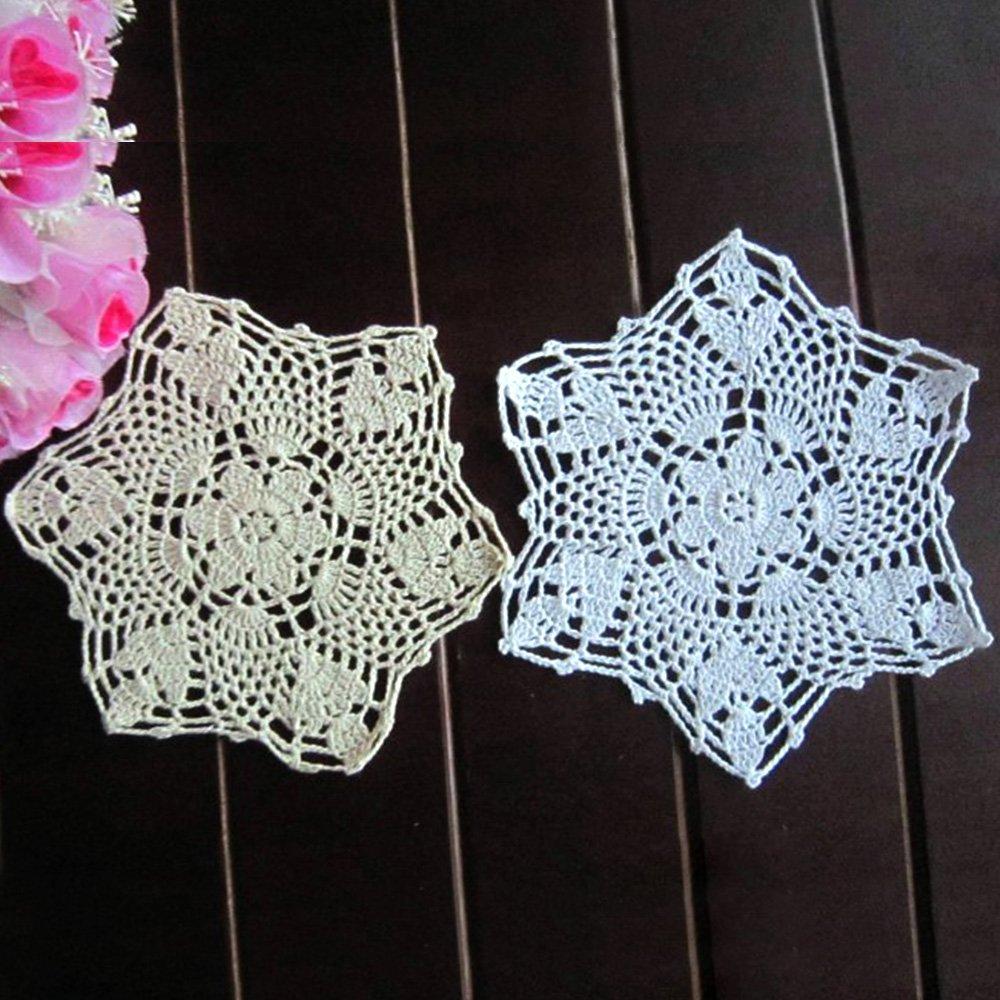 Yizunnu - Juego de 4 manteles Individuales Redondos de algodón con Encaje de Ganchillo, diseño Floral, Color Blanco, 22cm White Round: Amazon.es: Hogar