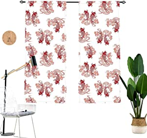 Japanese Blackout Curtains,Underwater Character Koi Fish in The Lake Asian Style Art Window Drapes for Living Room Bedroom Kitchen Cafe,2 Panel Set,W29 x L45 Each Panel