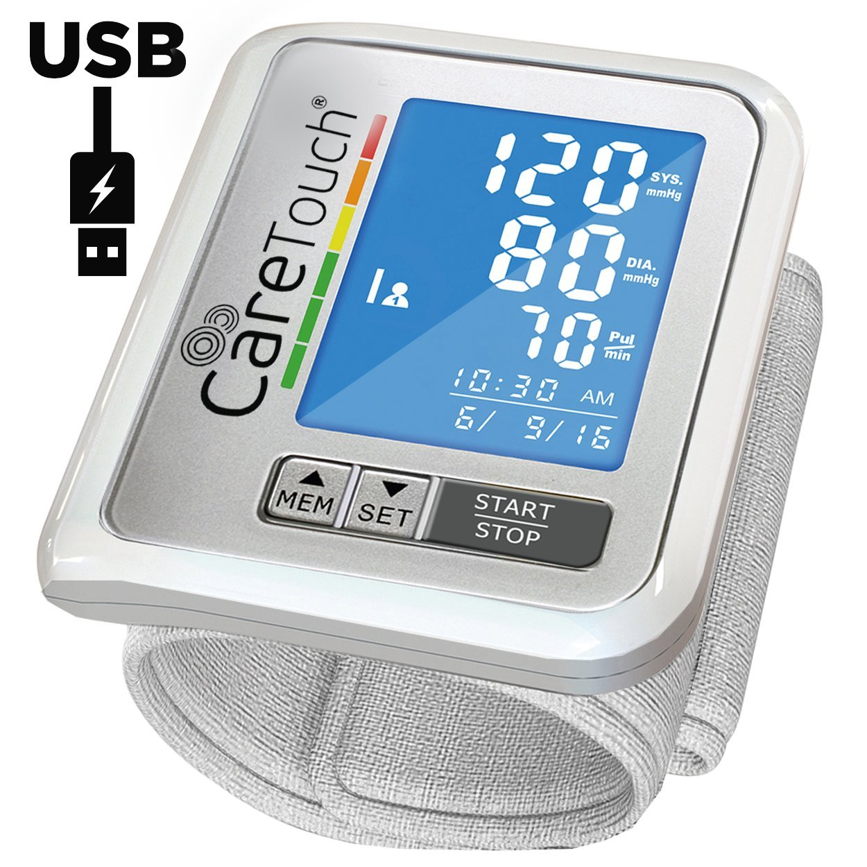 Wrist Blood Pressure Monitor by Care Touch with USB Charging - FDA Approved Slim Digital BP Machine with back-light, adjustable cuff and irregular heartbeat indicator