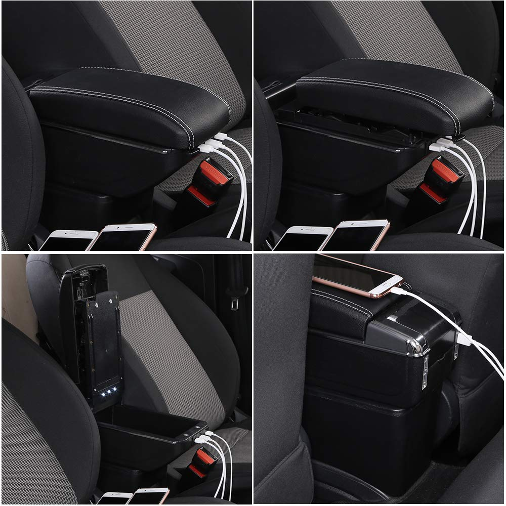 Double rise with USB, Black white line Lifting type with USB port armrest box For 2017-2020 ZS Centre Console Storage Box Armrest