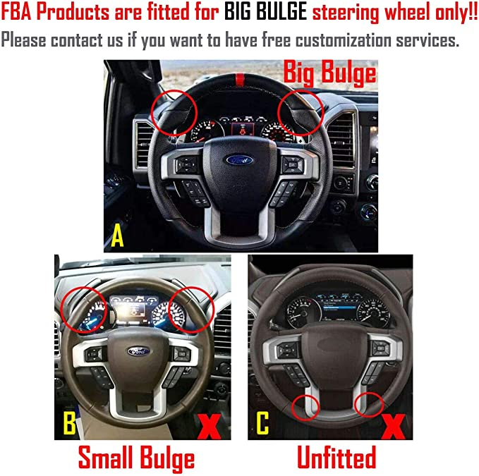 FOR FORD F-150 17-18 PERF LEATHER STEERING WHEEL COVER CHOSEN COLOUR 2 STIT