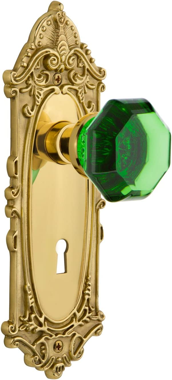 B06VWWXH5X Nostalgic Warehouse 724072 Victorian Plate with Keyhole Double Dummy Waldorf Emerald Door Knob in Unlaquered Brass 71gkUzRqMLL.SL1490_