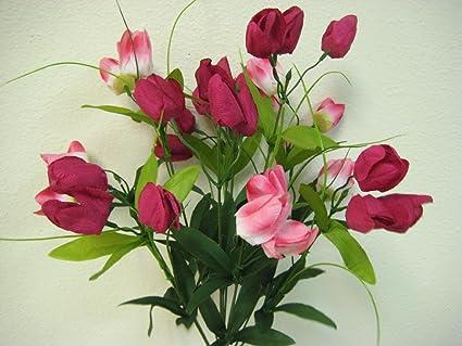 Amazon phoenix silk 2 bushes beauty pink mini tulip artificial phoenix silk 2 bushes beauty pink mini tulip artificial silk flowers 20quot bouquets 33 mightylinksfo