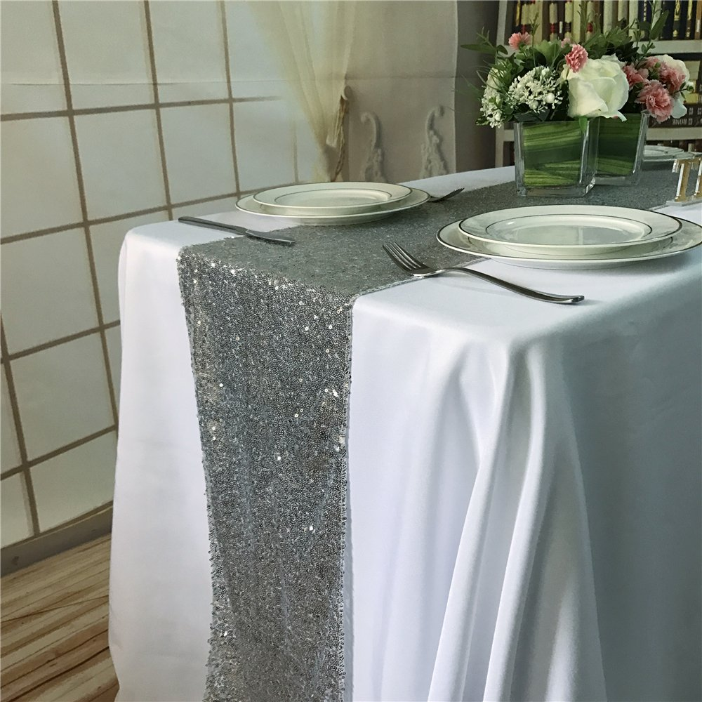 TRLYC 14*72 Silver Sequin Table Runner for Wedding//Party//Banquet