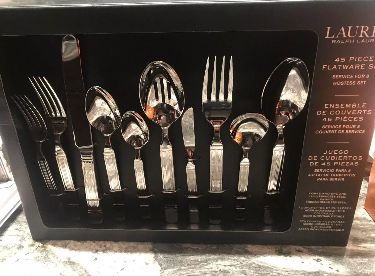 Amazon.com | ralph lauren harrison 45 piece flatware set. Service for 8 plus 5 piece hostess set: Flatware Sets