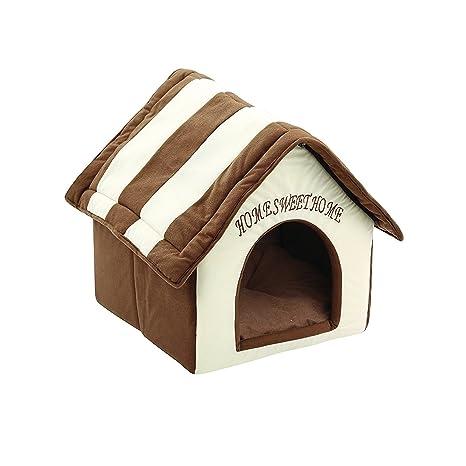 ZIME Pequeña casa de mascotas - Pequeña casa portátil y convertible para perros o gatos,