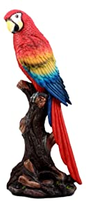 """Ebros Gift Beautiful Tropical Rainforest Paradise Bird Scarlet Macaw Parrot Statue Perching On Tree Branch Decorative Figurine 13.75"""" Tall"""
