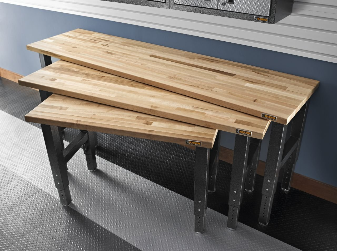 4' Adjustable Height Hardwood Workbench with Hammered Granite Finish
