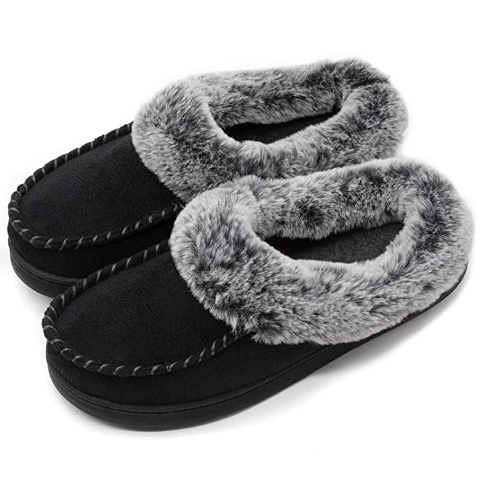 Ultraideas Women's Comfort Faux Fur Lined Micro Suede Memory Foam Slippers Non Skid House Shoes by Ultraideas