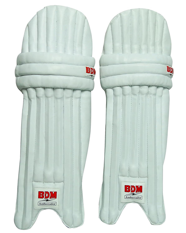 Ambassador BDM Cricket Leg Guard Right Handed PU Leather White Mens Batting Pads