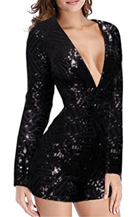 f86c6cc1365 CRYYU Women s Long Sleeve Deep V Neck Sequin Bodycon Shorts Jumpsuit Romper  Black US XS