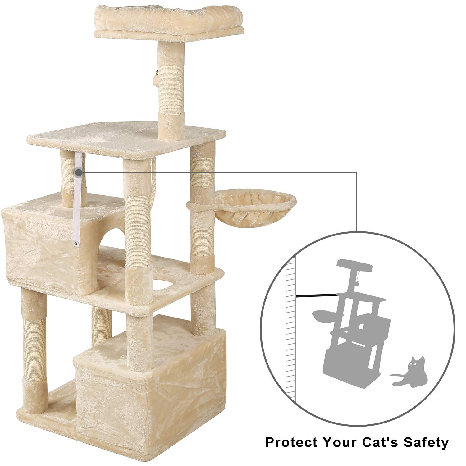 WLIVE 59'' Large Cat Tree Condo with Sisal Scratching Posts, 2 Plush Condos and Basket Lounger, Cat Tower Furniture WF062A by WLIVE (Image #4)