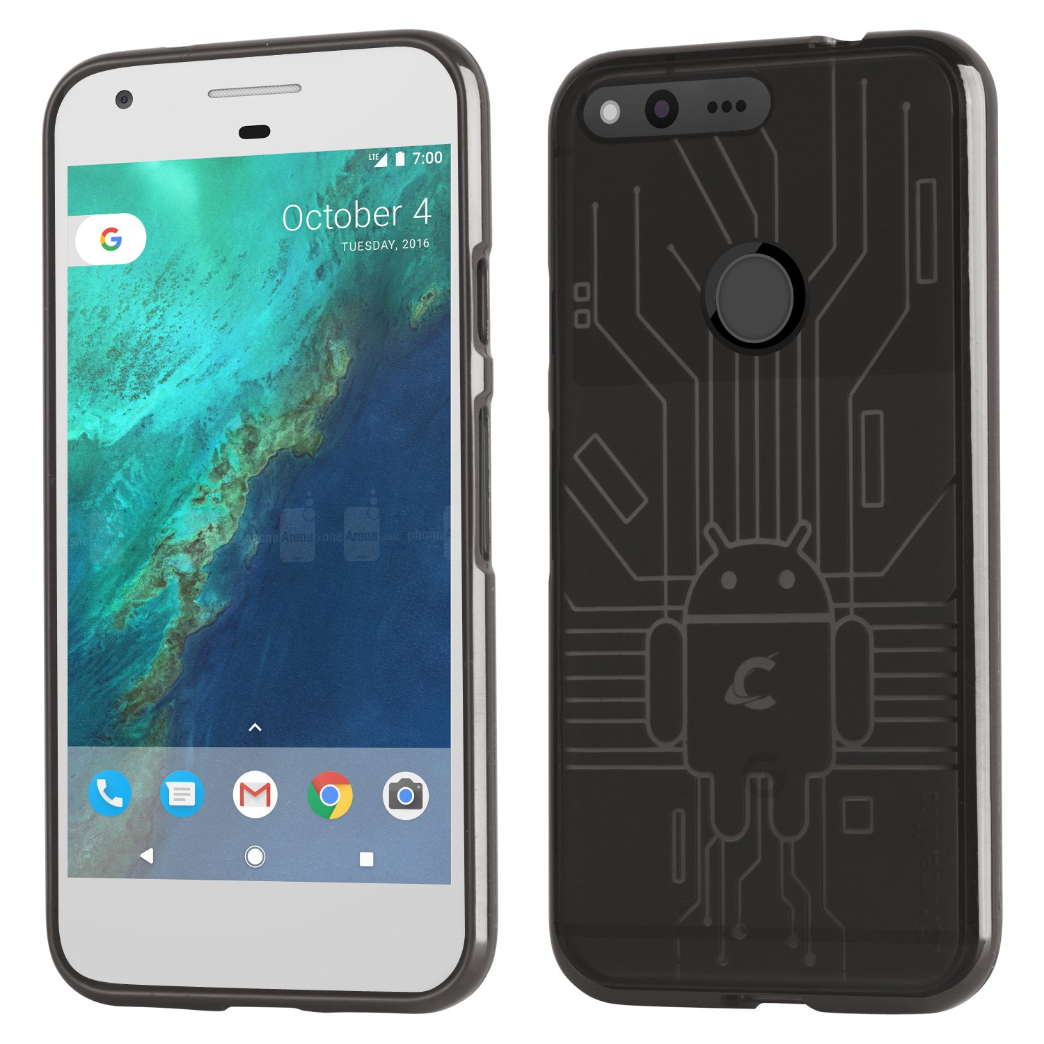 Amazon.com: Cruzerlite Google Pixel Case, Bug droid Circuit TPU Case ...