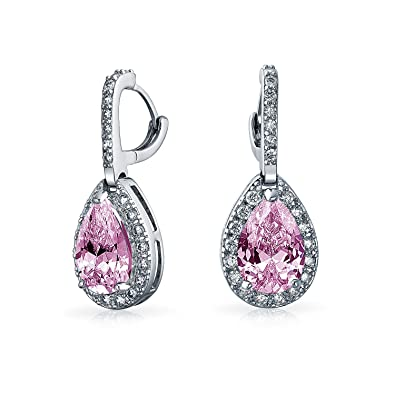 8098dfd3d 5CT Pink Teardrop Pave Pear Shaped Halo Cubic Zirconia Drop Huggie Earrings  CZ Simulated Topaz Silver Plated Brass: Amazon.co.uk: Jewellery