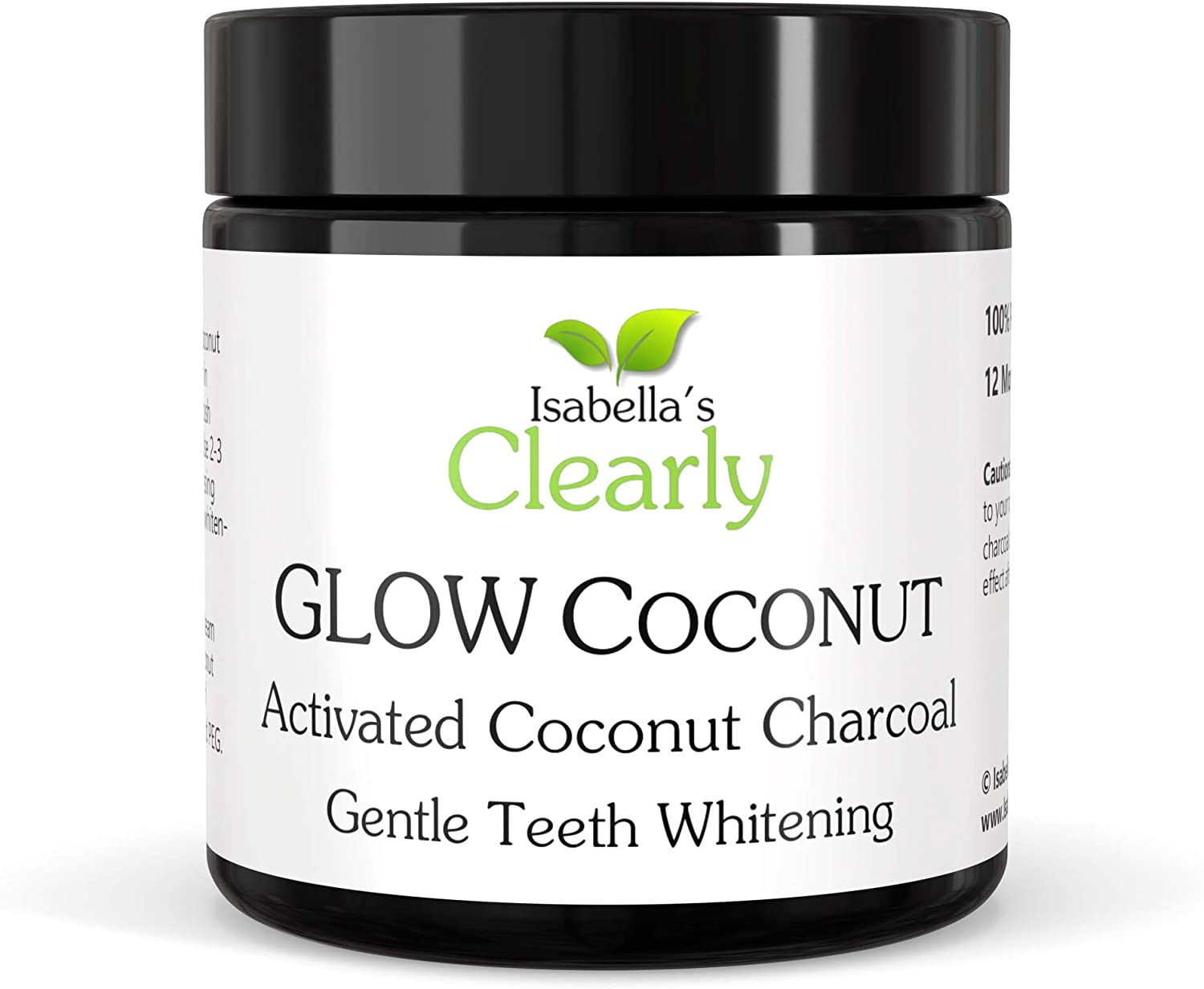Clearly Glow Coconut, Teeth Whitening Activated Charcoal Powder   Pure, Natural, Food Grade, Non GMO, Made in USA   Whiten Teeth Naturally (12 Months Supply (100g))