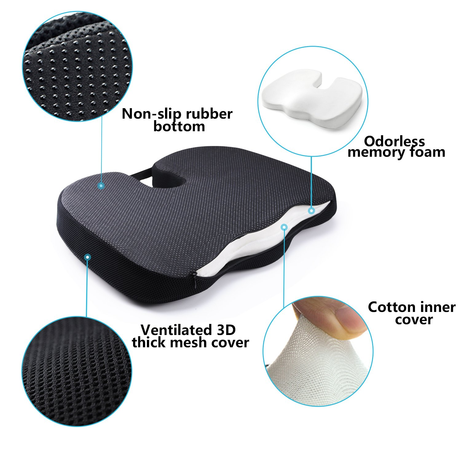 Dreamer Car Chair Cushions High-density Memory Foam Ventilate 3D Mesh Cover Designed for Hip Pain and Sciatica Relief ,Black