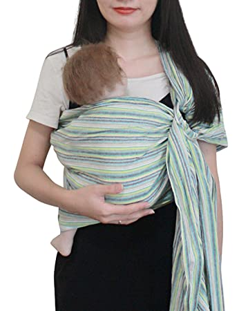 Newborn Shower Gift Orange Rainbow Kids and Toddlers Breastfeeding Luxury Lightweight Breathable Linen and Cotton Baby Slings for Infant Vlokup Ring Sling Baby Carrier Wrap Adjustable
