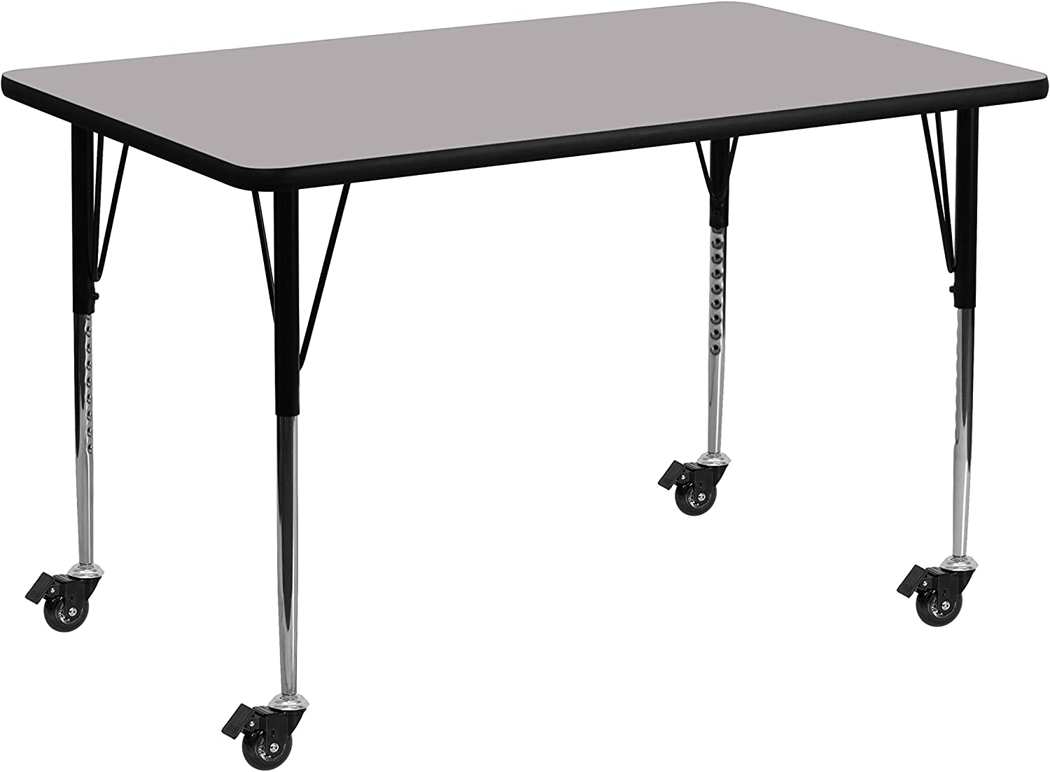 Flash Furniture Mobile 24''W x 48''L Rectangular Grey Thermal Laminate Activity Table - Standard Height Adjustable Legs