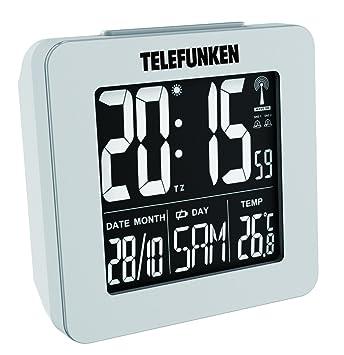 R Telefunken R/éveil Radio-pilot/é Digital LCD DCF avec thermom/ètre Affichage de la temp/érature et Calendrier Automatique R/églage de lheure Rouge Bordeaux FUD-25