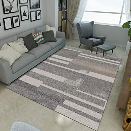 Arredare Soggiorno E Salotto.Mengjie Home Lavabile Tappeti Di Design Per Salotto Strisce Grigio