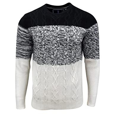Soul Star Mens Caspian Cable Knit Sweater Black At Amazon Mens