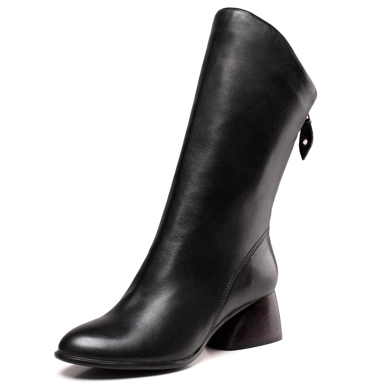 schuhe house Damenschuhe, Damenwinter Stiefel, Damenschuhe, Damenschuhe, Lederkalb, High und und und Low Heel Schuhe, Outdoor-Schuhe, schwarz 45d05d