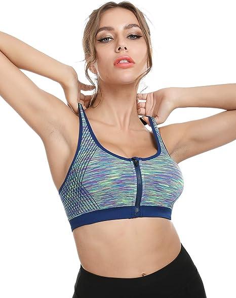 3er Damen Sport BH Bustier Training Fitness Gym Yoga Jogging Bra Reißverschluss
