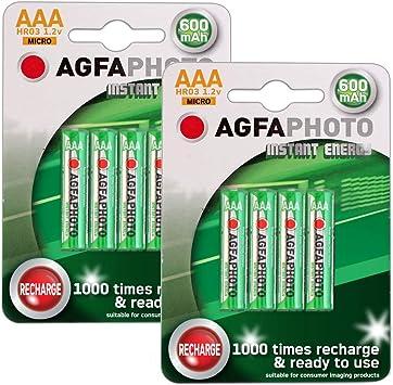 Agfa - 8 pilas recargables AAA Ni-MH para teléfonos inalámbricos Amplicom, Audioline, Binatone, BT, Doro, Gemarc, iDect, MagicBox, Panasonic, Philips, Sagem, SagemCom y Siemens: Amazon.es: Electrónica