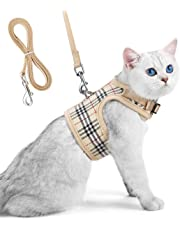 Unihubys Cat Harness with Leash Set-Adjustable Soft Mesh Material with Strong D-Ring for Peace of Mind, Great for Walking, Travel or Visiting the Vet without Escape