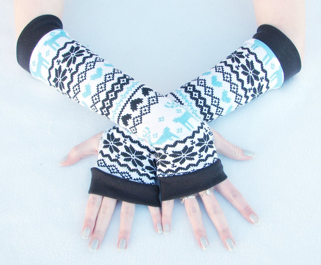 Alpine Winter Arm Warmers Fingerless Gloves Fair Isle Snowflakes