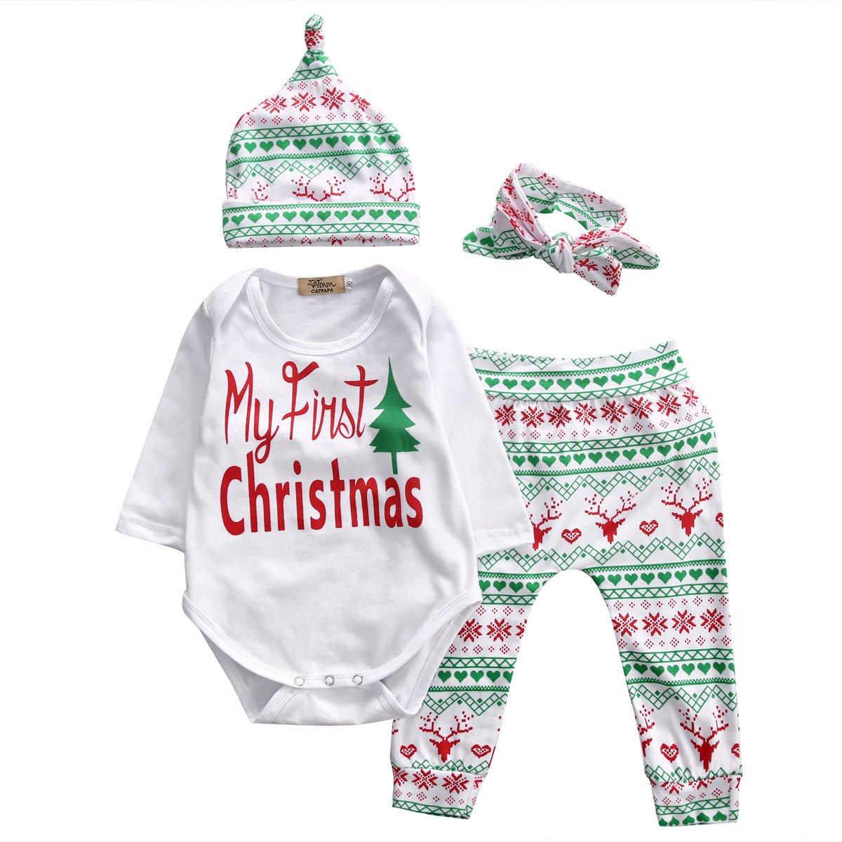 Juicart Baby Girls Christmas Xmas 4pcs Outfit Headband+Hat+Romper+Pants Leggings