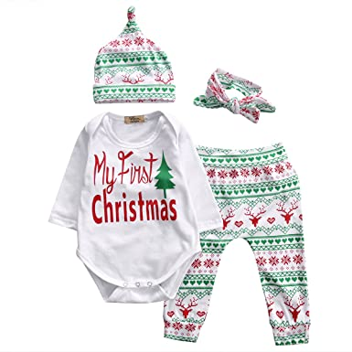 5a2679cecfe7 Baby Girl 4pcs Christmas Suit Long Sleeve Romper+Retro Deer Pants+Hat +Headband
