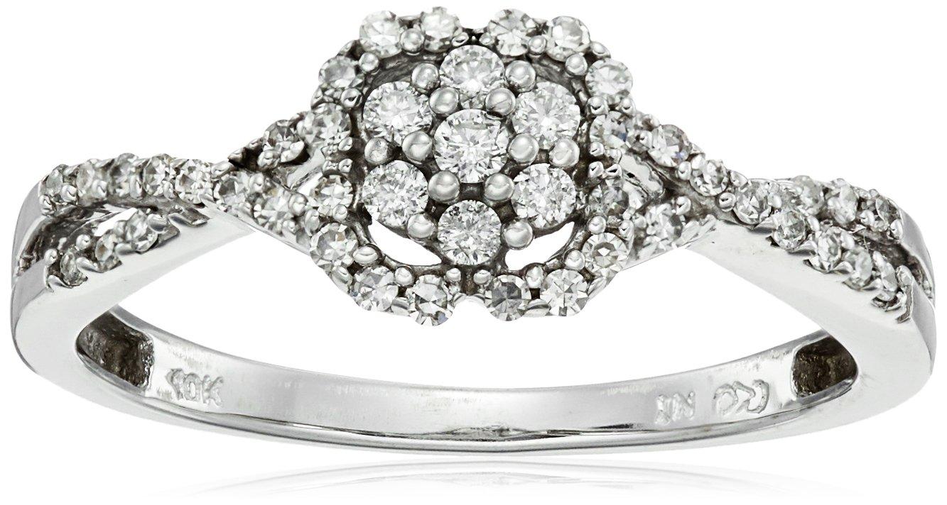 10k White Diamond Ring (1/4cttw, H-I Color, I2-I3 Clarity), Size 8