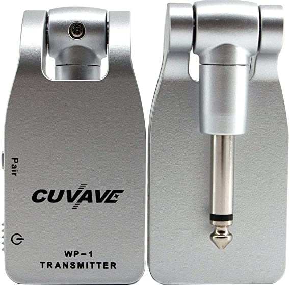 Vilihy CUVAVE 2.4GHZ Wireless Guitar System Digital Transmitter Receiver for Electric Guitar Bass Built-in Rechargeable Lithium Battery (Silver)