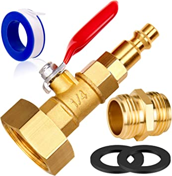 PurDream 1//4 Quick Connect Plug to GHT 3//4 Female Garden Faucet Blow Out Adapter Kit 4Pcs Heavy Duty Winterize Sprinkler Systems and Outdoor Faucets for Faucets Water Garden Hoses