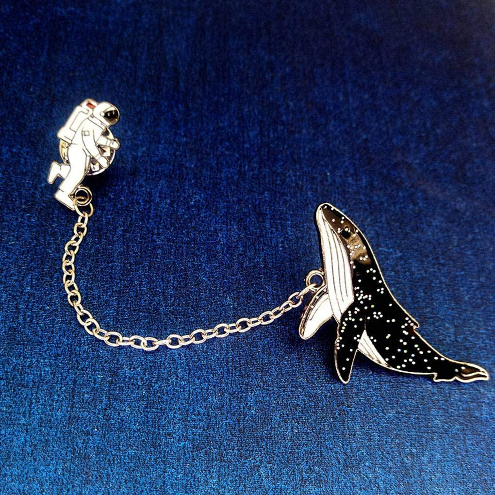 Pigup Femmes Filles Badge Cartoon Astronaute Baleine Broche Collier en m/étal /épinglette Breastpin Bijoux