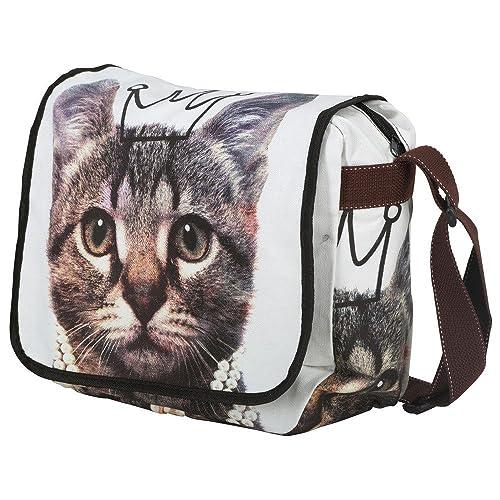 Unisign - Bolso bandolera para mujer gato gata - Mediano - Messenger Bag: Amazon.es: Zapatos y complementos