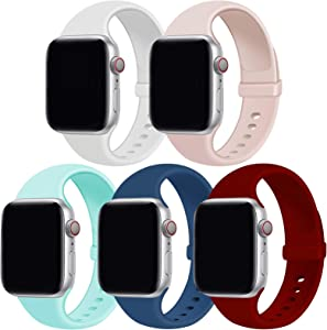 GZ GZHISY Pack 5 Sport Bands Compatible with Apple Watch Band 38mm 40mm 42mm 44mm, Soft Silicone Band Sport Strap Compatible for iWatch Series 6/SE/5/4/3/2/1