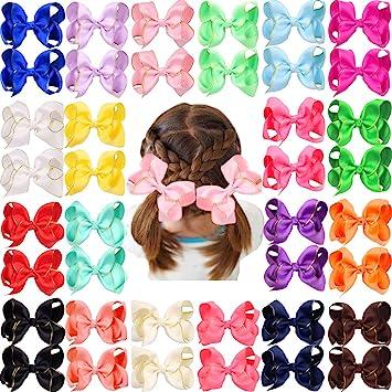 40 Pcs 20 Pair Baby Girls Pinwheel Bows Alligator Hair Clips For Kids Headband