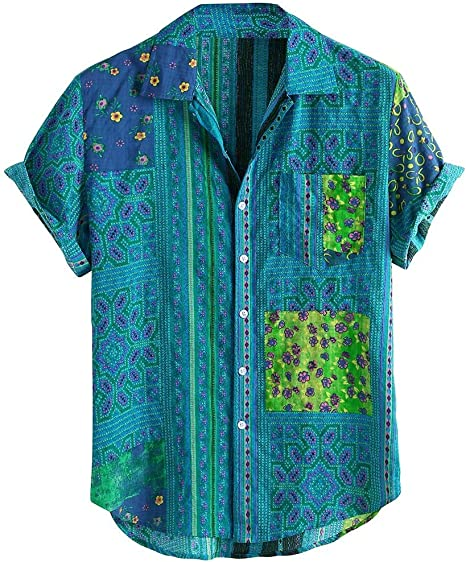 Lomsarsh Camisa de Hombre, Camisa Holgada de Manga Corta con Estampado étnico Vintage de algodón para Hombres Camisas Informales de Verano con Cuello Vuelto, Camisas para Hombres de la Vida Diaria Mo: