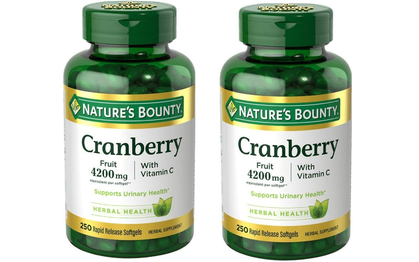 Nature's Bounty Cranberry Fruit 4200mg/ Plus Vitamin C 250 Softgels (2 Pack)
