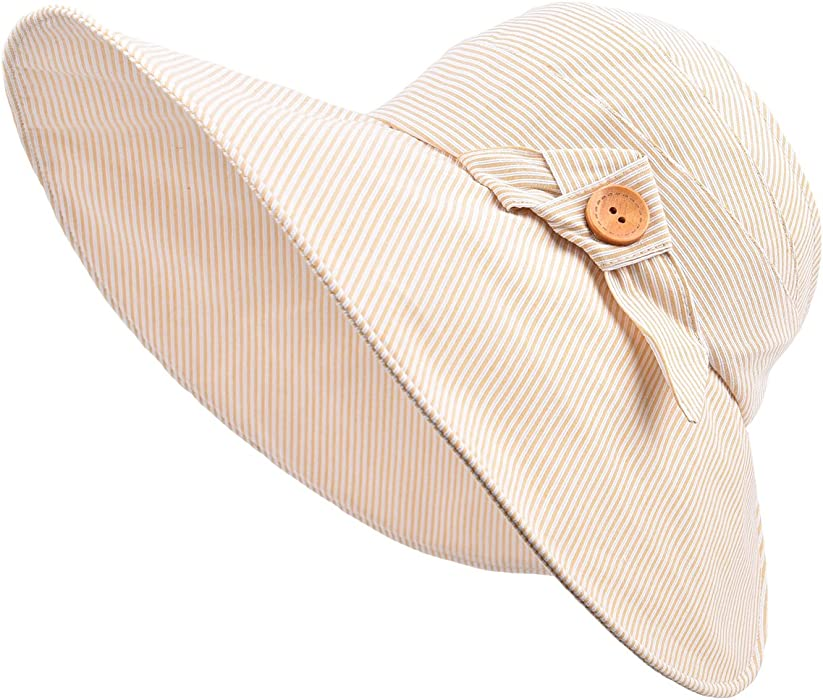 860a06620a1 Sun Hats for Women Summer Wide Brim Floppy Ponytail Hat Roll-Up Sun Visor  Beach Hat Beige at Amazon Women s Clothing store