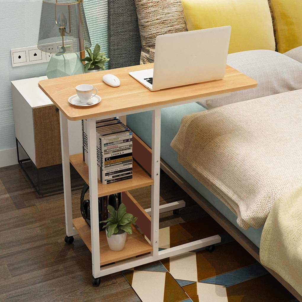 Overbed Table Rolling Bed Side Desk Snack End Table Laptop Stand Food Tray Table C Shape Sofa Couch Chair Side Table with Lockable Wheels Storage Shelves for Home Room Office Reading Eating Work