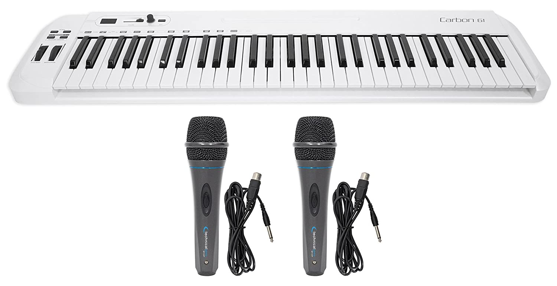 Samson Carbon 61 Key USB MIDI DJ Keyboard Controller+Software+(2) Microphones SAKC61+(2) MK75