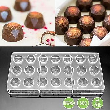 jeteven Diamond policarbonato transparente Chocolate molde Jelly Candy Making molde bandeja de 21 piezas: Amazon.es: Hogar